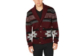 American Rag Mens Sweater Red Gray Size Medium M Tribal Knit Cardigan