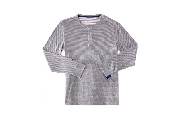 Club Room Mens Shirt Gray Size 2XL Stripe Print Long Sleeve Henley