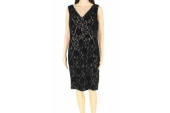 Lauren By Ralph Lauren Womens Dress Black Size 8P Petite Sheath Floral