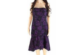 Aidan Mattox Women's Dress Purple Size 4 A-Line Floral Embroidered