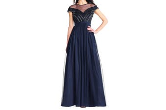 Aidan Mattox Women's Dress Blue Size 4 Gown Beaded-Fringe Tulle
