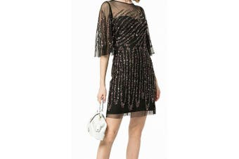 Aidan Mattox Women's Dress Black 0 Sheath Sequin Mesh Flutter-Sleeve