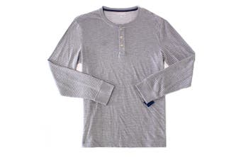 Club Room Mens Solid Shark Gray Size Large L Striped Henley Shirt