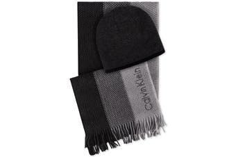 Calvin Klein Men's Black Gray Hat Beanie Scarf Set Ombre Acrylic