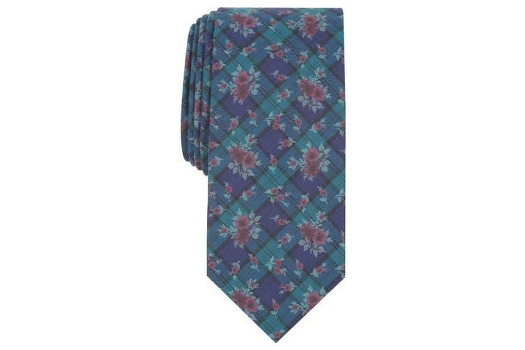Bar III Men's Blue Blackwatch Floral Print Skinny Neck Tie Accessory