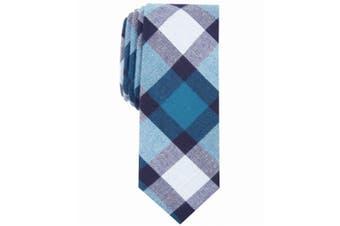 Bar III Mens Neck Tie Blue White One Size Jasper Plaid Slim Skinny