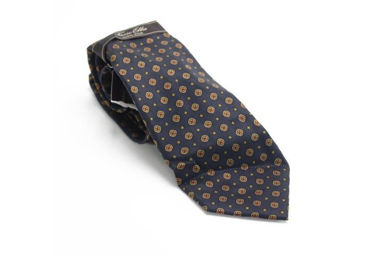Tasso Elba Men's Navy Blue Zucket Medallion Skinny Neck Tie Silk