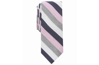 Bar III Men's Gray Pink Dupont Striped Skinny Slim Neck Tie Accessory