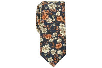 Bar III Mens Neck Tie Blue One Size Madison Floral Print Skinny Silk