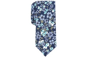 Bar III Men's Blue Calbira Slim Floral Skinny Neck Tie Cotton Accessory