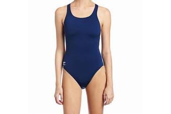Speedo Navy Blue Women's Size 10 One-Piece Open-Back Solid Swimwear #222