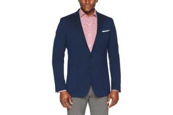 Cole Haan Mens Navy Blue Size 40L Slim Fit Blazer Jacket Wool Blend