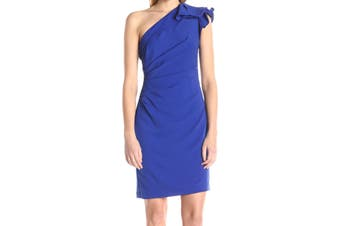 Carmen Marc Valvo Women's Dress Blue Size 8 Ruffle Crepe Short Sheath