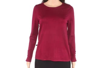 Chico's Women's Sweater Cranberry Red Size Small S Boat Neck Ribbed
