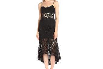 Amur Women's Dress Black Size 0 Sheath Crochet Floral High-Low Mermaid
