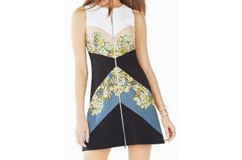 BCBGMaxazria Women's Dress Black Size 8 Sheath Floral Colorblock