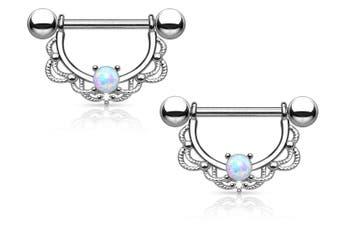 Pierced Owl Silver Stainless Steel Nipple Rings Barbell Filigree Drop #529