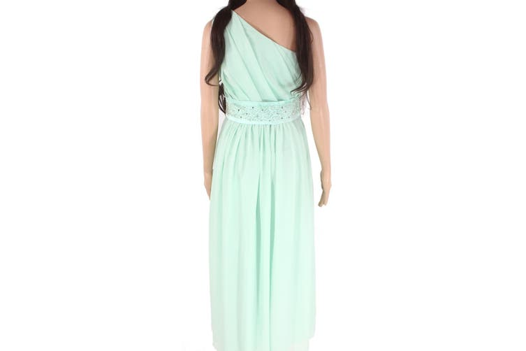 Designer Brand Women'sDress Green Size 12 A-Line Pleated Embellished
