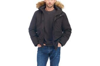 Alpine North Mens Coat Black Size XL Faux Fur Enhance Visibility Parka