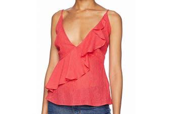 BB Dakota Women's Top Glow Pink Size Medium M Cami Ruffled Solid