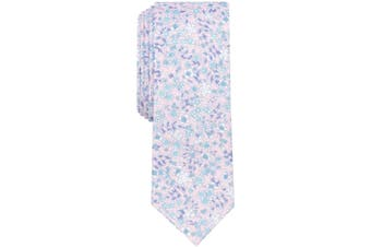 Bar III Pink Men's One Size Franconia Skinny Floral Neck Tie Cotton