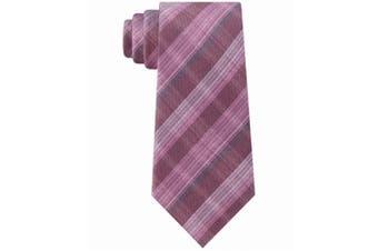 Kenneth Cole Reaction Men's Pink Slim Fine Line Plaid Neck Tie Silk