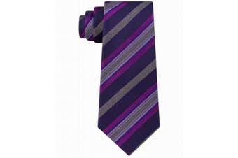Kenneth Cole Reaction Men's Pink Purple Rail Striped Neck Tie Silk