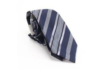 Kenneth Cole Reaction Men's Navy Blue Rail Striped Slim Neck Tie Silk