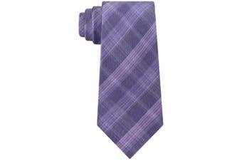 Kenneth Cole Reaction Men's Purple Fineline Plaid Classic Neck Tie Silk