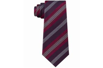 Kenneth Cole Reaction Men's Red Rail Striped Classic Neck Tie Silk