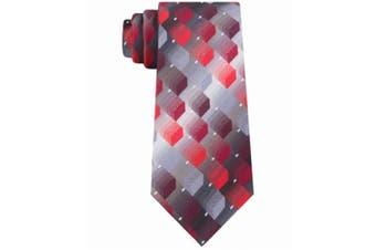 Van Heusen Men's Silver Red Hunt Geometric Classic Slim Neck Tie Silk