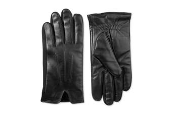 Isotoner Mens Everyday Gloves Black Size Medium M Leather Touchscreen