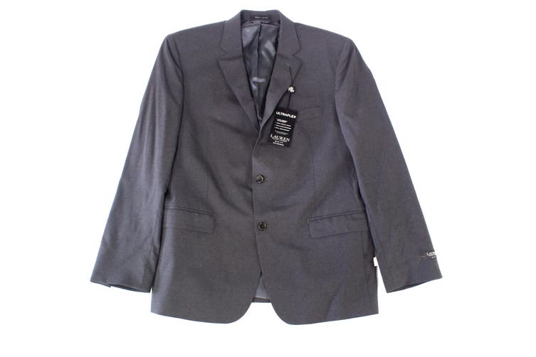 Lauren By Ralph Lauren Mens Gray Size 46R Slim Two Button Blazer