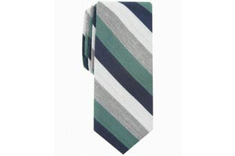Bar III Men's Green Gray Dupont Striped Skinny Neck Tie Accessory