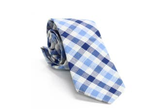 Bar III Men's Blue Neck Tie Slim Skinny Bold Heather Gingham Accessory