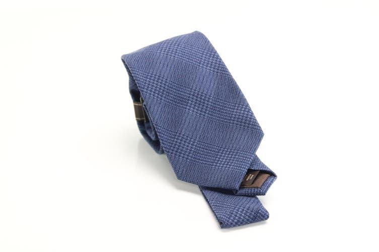 Tasso Elba Men's Dark Blue Classic Plaid Print Neck Tie Wool Accessory