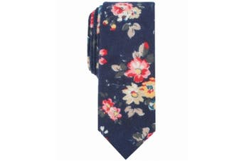 Bar III Men's Navy Blue Pink One Size Clara Floral Skinny Neck Tie