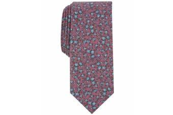 Bar III Mens Red Watercolor Floral Print Skinny Slim Neck Tie Accessory