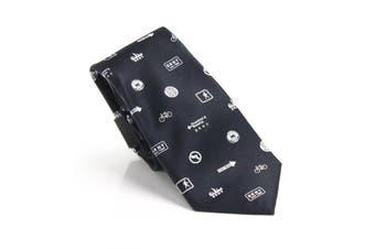 DKNY Men's White Black NYC Scattered Print Logo Skinny Neck Tie Silk