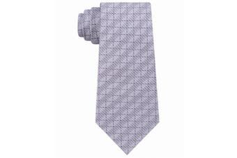 DKNY Men's Gray Silver Grid Geometric Slim Neck Tie Silk Accessory