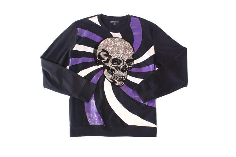 INC Mens Sweater Black Size Large L Long Sleeve Sequin Skull Crewneck