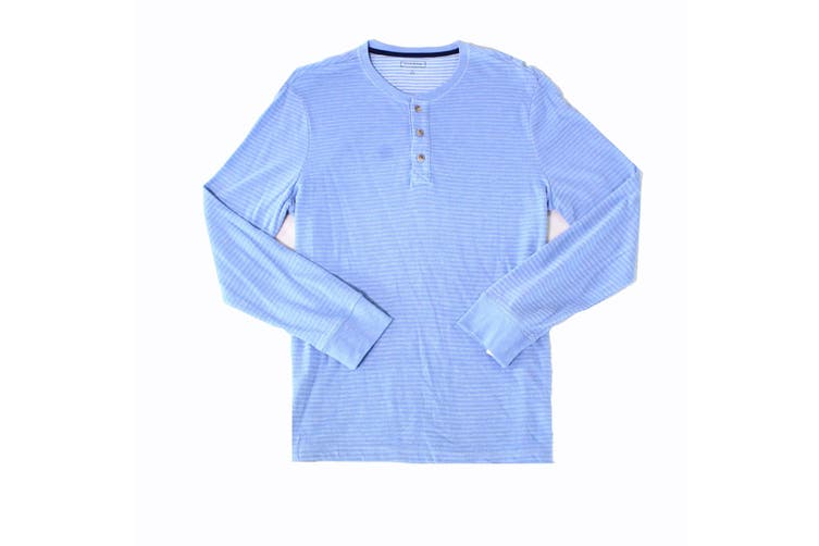 Club Room Mens Shirt Blue Size Large L Long Sleeve Striped Henley