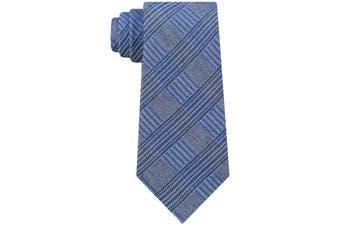Calvin Klein Men's Blue Bold Schoolboy Plaid Classic Slim Neck Tie Silk