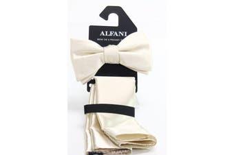 Alfani Mens Beige Pre-Tied Bow Tie Pocket Square Set Satin Solid Silk
