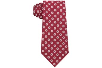 Sean John Men's Red White Etched Halo Polka Dot Classic Neck Tie Silk