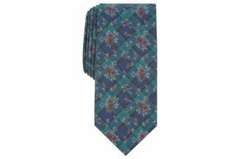 Bar III Mens Blue Blackwatch Floral Print Skinny Neck Tie Accessory