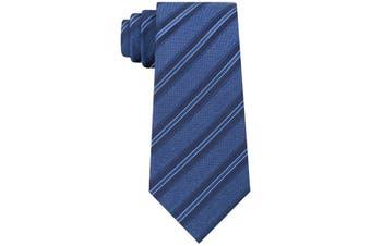Kenneth Cole Reaction Men's Indigo Blue Mixed Striped Skinny Neck Tie