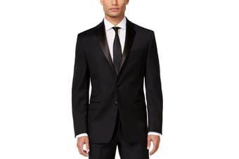 Calvin Klein Mens Tuxedo Jacket Black Size 36 Two Button Satin Wool