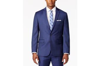 Ryan Seacrest Blue Mens Size 38 Short Two Button Wool Suit Jacket