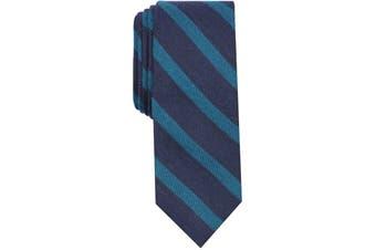 Bar III Men's Neck Tie Navy Blue Teal One Size Skinny Bayside Stripe
